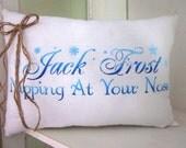 50% CLEARANCE SALE Christmas pillows, jack frost, decorative pillows, farmhouse style, blue pillows, snowflakes, christmas, burlap, rustic