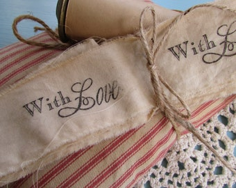 With Love Hand Stamped Muslin Trim Ribbon, Stamped Muslin Trim, Vintage Inspired, Hand Dyed, Hand Frayed, Hand Stamped, Embellishment