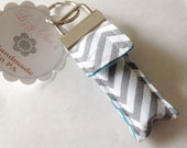 Keychain Chapstick Holder in Gray Chevron and Teal
