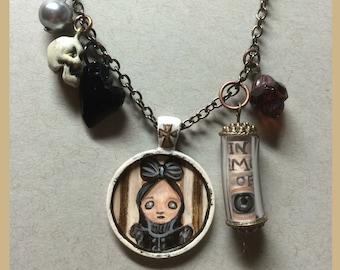 Ooak hand painted portrait necklace