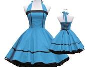 50's vintage dress full skirt black  classic turquoise design design lace back custom made Retro