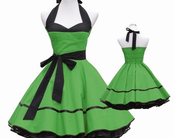 50's vintage dress full skirt black green corsage design custom made Retro