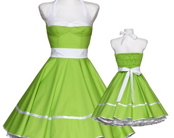 50's vintage dress apple green white corsage style Tailor Made after your measurements