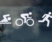 Large Swim Bike Run  - Triathlon Decal / Sticker (Buy 1 Get 1 Free)