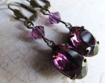 Purple Gothic Earrings Art Deco Earrings Art Nouveau Earrings 1920s Earrings Dark Purple Crystal Earrings Amethyst Dangle Earrings- Violet