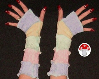 Arm Warmers Pastel Pleasure Fingerless Gloves Recycled Upcycled Sweater Patchwork Warmies Dusty Blue Baby Yellow Icy Pink Fresh Mint Yummy