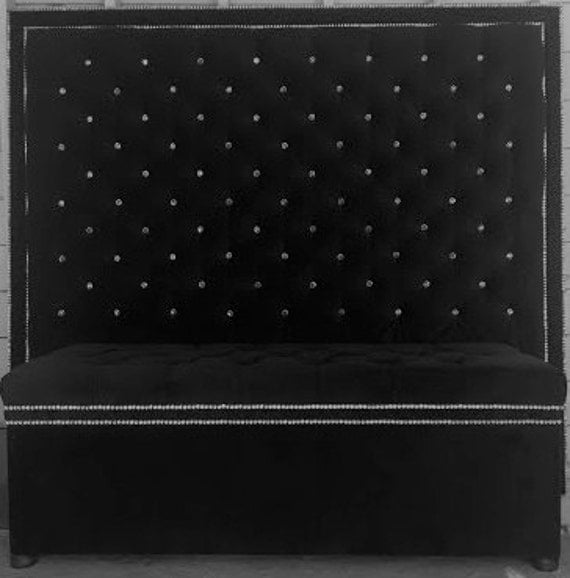 Crystal Button Tufted Velvet Headboard With Double Crystal