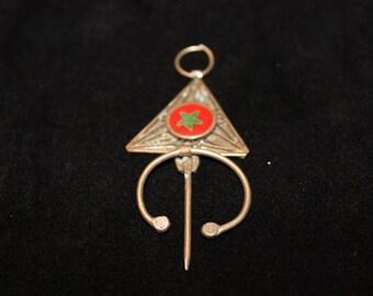 Moroccan Flag Antique Silver Berber Tribe Fibula Small Brooch Pendant