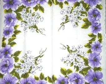 Vintage cotton handkerchief floral design hanky scalloped edges