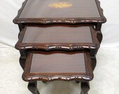 Vintage Antique Inlaid Mahogany Nest of 3 Tables Nesting Snack Occasional TV Tables w/ Glass Tops & Queen Anne Legs