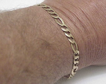 "Solid 14k Yellow Gold Figaro Link Chain Bracelet 8"",9.8gr, Lobster Claw Clasp"