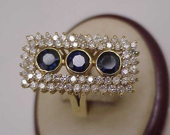 Appraised at 7124,Incredible works of Art,  Estate Vintage 14k Yellow Gold 5.75ct Genuine  Sapphires & Diamonds,1950's