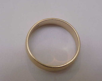 Estate 14K Yellow Gold Wedding Band Ring 6mm 1.5mm thick ,S 10