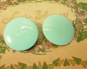 60s Disc Clip On Earrings Blue Coro