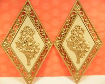 Vintage Regency Gold Wall Plaques - Set Of 2 - Dart Ind - Plastic - - 4271