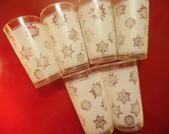 Frosted Snowflake Glasses - Federal Glass -  Set Of 6