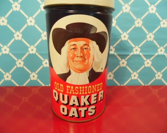 Vintage Quaker Oats Canister Limited Edition Tin 1982 Collectible Tin Retro Kitchen Decor