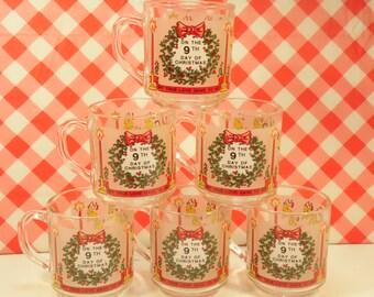 6 Christmas Mugs Luminarc 9 Ladies Dancing 9th Day Of Christmas 8 Oz