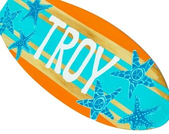 Surfboard Wall Art, Custom Surfboard Sign, Turquoise Beach House Decor, Beach Themed Bathroom Decor, Beach Signs, Surfboard Decor Surf Decor