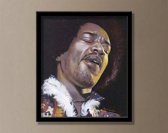 "ORIGINAL painting of Jimi Hendrix by Jeff Rodenberg 14""x12"""