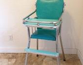 Vintage High Chair, Vintage Aqua and Chrome High Chair, vintage feeding chair, childs chair, baby chair