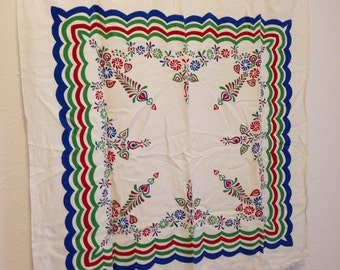 Vintage Tablecloth, White Blue Red Green Border, Vintage Floral Tablecloth