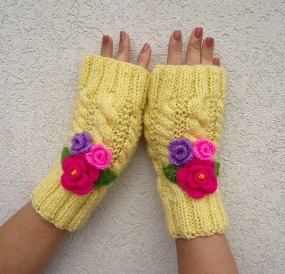 KNITTING PATTERN Mittens Gloves Knit Fingerless by LiliaCraftParty
