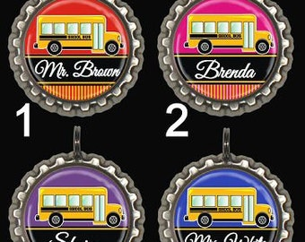 Personalized School Bus Driver Keyring or Zipper Pull Pink Blue Purple Red Green