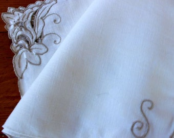 Vintage Linen Placemats 4 Place Mats Table Hand Embroidery Monogram S Cutwork Natural