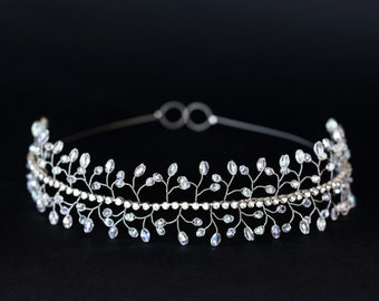 19_Wedding tiaras, Crystals tiara, Silver crown, Wedding crystal crown, Rhinestone bridal tiara White tiaras and crowns Crystal bridal tiara