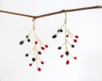 632_Red & black crystal earrings, Gold earrings, Bridal earrings, Original earrings, Wedding accessories, Delicate jewelry,Red and black.