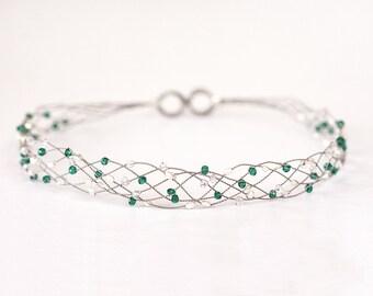 Emerald green crystal tiara,Silver headband, Grecian hair accessories, Emerald headband,Green party crown,Fantasy,Crystals headband,Headband