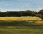 Yellow Field Landscape Painting, Oil on wood panel, 10x20 inch Canadian Fine Art Summer Scenic