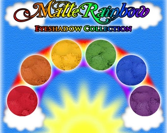 MATTE RAINBOW Eyeshadow Collection: 6 (Six) Samples or Jars of Mineral Eyeshadow, Matte Spectrum of Colors, Ships Out in 4-7 Days