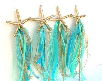 Starfish, MERMAID Wand, Mermaid Party Supply, ANY Color, Under the Sea Party, Mermaid Party, Starfish Wand