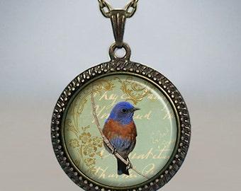 Bluebird necklace, bluebird jewelry, bird pendant, bluebird charm bird lover gift bird watcher gift bird charm bird jewellery  nature lover