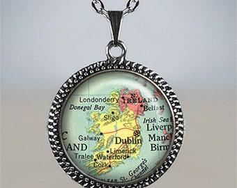Ireland map necklace, Ireland map jewelry Ireland necklace charm Ireland pendant Dublin pendant Ireland travel gift Ireland memento