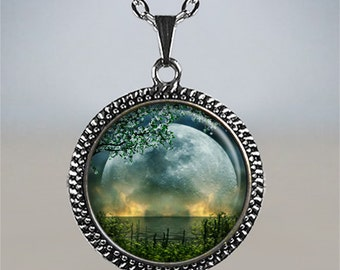 Summer Solstice necklace, Summer Solstice pendant, full moon pendant, Solstice jewelry, Wiccan jewelry, Beltane necklace
