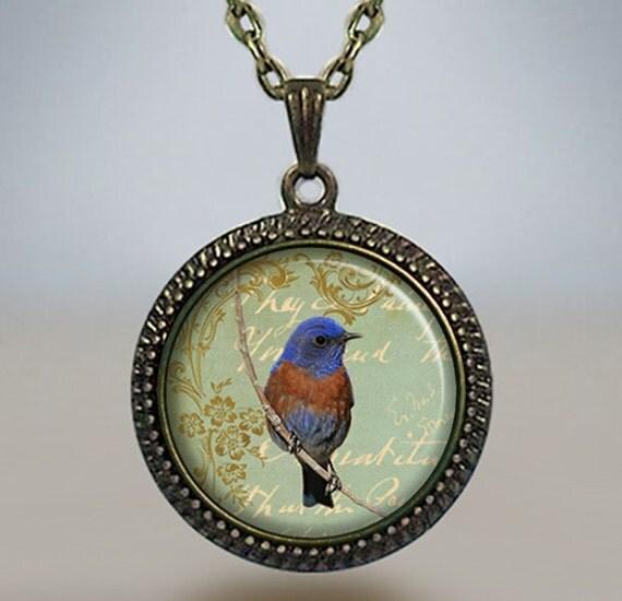 bluebird necklace bluebird jewelry bird pendant bluebird