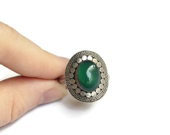 Boho Sterling Silver and Green Agate Ring