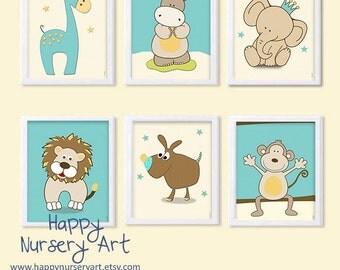 Boys Nursery art decor, Safari animals Nursery , Posters of Animals for the Nursery,Turquoise  Yellow Nursery Decoration,Prints for Boy Girl