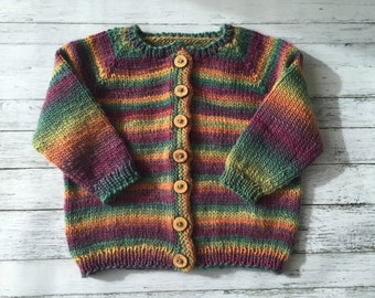 hand knit child cardigan 3-4 years