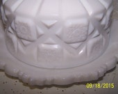 Westmoreland Old Quilt White Milk glass Covered Butter Dish
