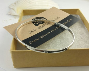 TRI Bangle, Down Syndrome Jewelry, Awareness Jewelry, Sterling Silver Bangle,