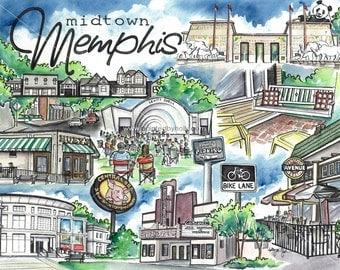 Midtown Memphis, TN Tennessee signed Art Print Artwork