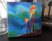 "Small 4""x4"" Mushroom Acrylic Painting"