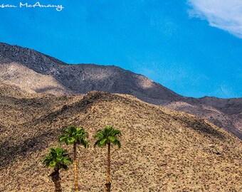 Desert Family Landscape Photograph, Color Art Print, Home Decor, Wall Art, Nature Landscape Photo, Palm Trees, Mountain Photo, Blue, Brown