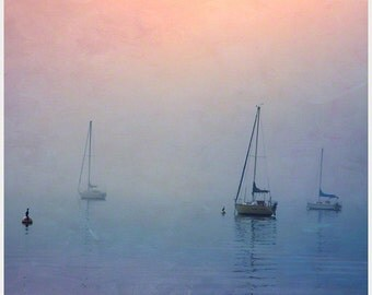 Sailboat Photograph, Nautical Landscape Photograph, Square Coastal Art, Wall Art, Home Decor, Coastal Decor, Blue, Orange, Pink