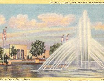 Vintage Linen Postcard.....Fountain in Lagoon, Fine Arts Bldg in Background, State Fair of Texas, Dallas, Texas....Used, 1954...no. 3579