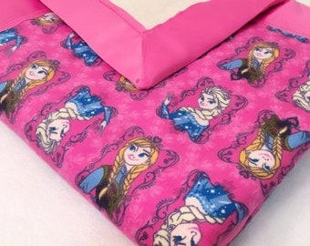 Anna & Elsa Frozen Double Sided Flannel Blanket w/ Satin Binding